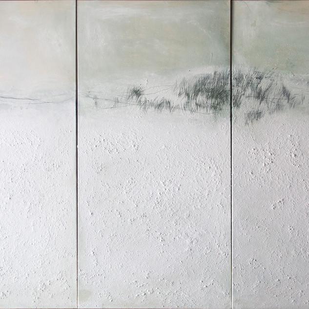 aus der serie 'übergänge' o.t., öl, pigment, verschiedene materialien auf leinwand, 200x300 cm