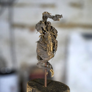 o.t., aus der serie 'bestandsaufnahme', 2021, holz, eisen, mumifizierter vogel, 40 x 40 x 152 cm
