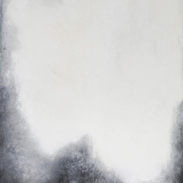 aus der serie 'übergänge' o.t., hochkogel, öl, pigment, verschiedene materialien auf leinwand, 240x180 cm