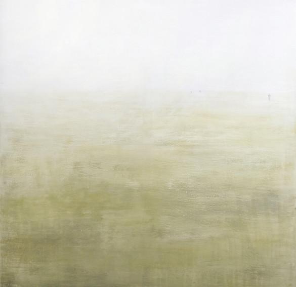 auf dem weg #2, 2021, pigment, buntstift auf leinwand, 170 x 160 cm