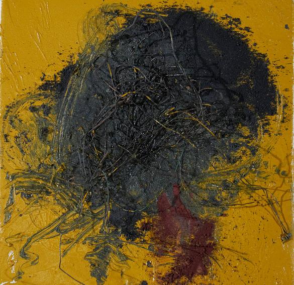 odysseus #8, 2021, öl, pigment, eisendraht auf leinwand, 30 x 30 cm