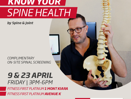 Fitness First Collaborates with Spine & Joint to Offer FREE onsite Spinal Screening for Club Members