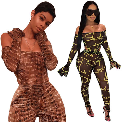 Off The Shoulder(See through) Bodycon Jumpsuit