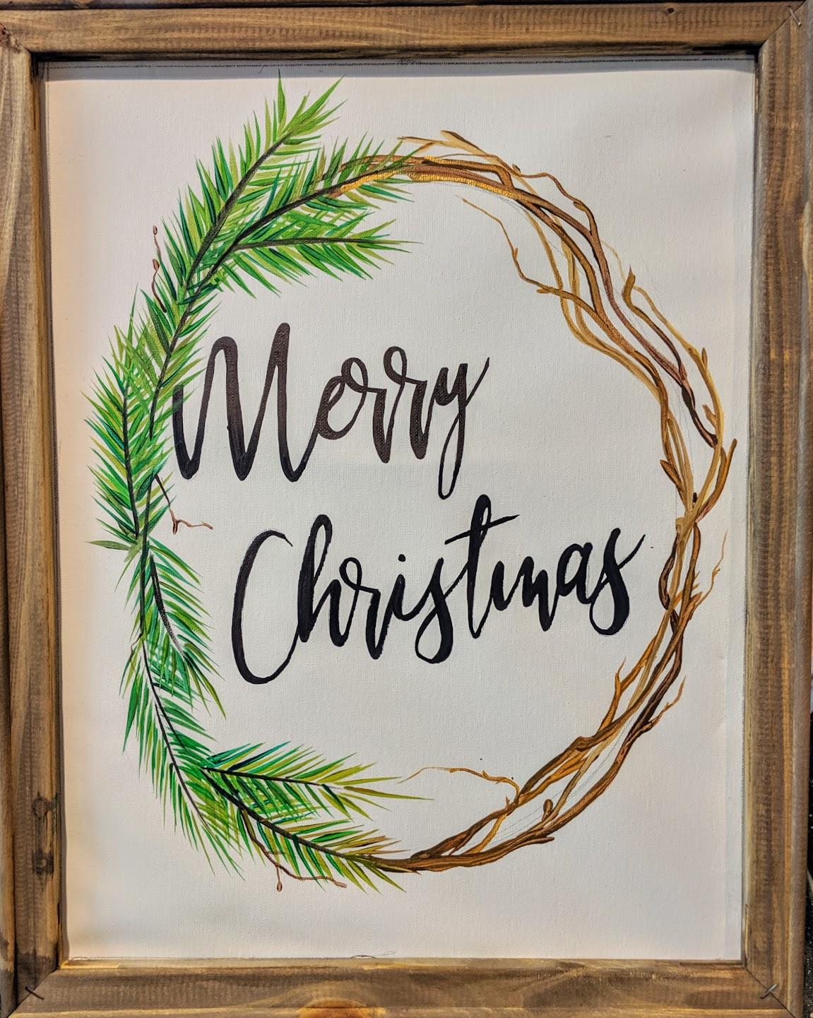 Merry Christmas Reverse Canvas