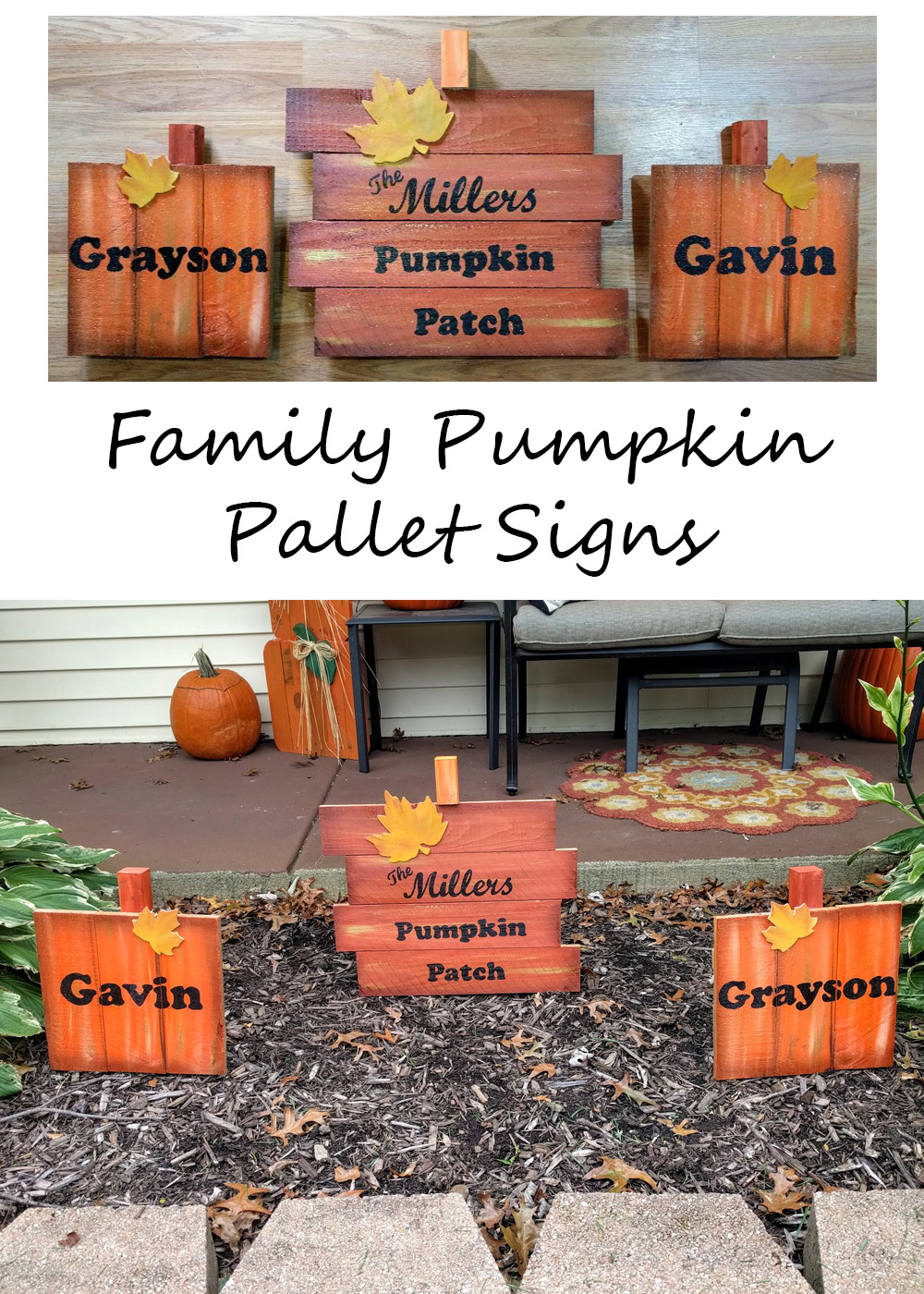 Family Pumpkin Pallet Signs