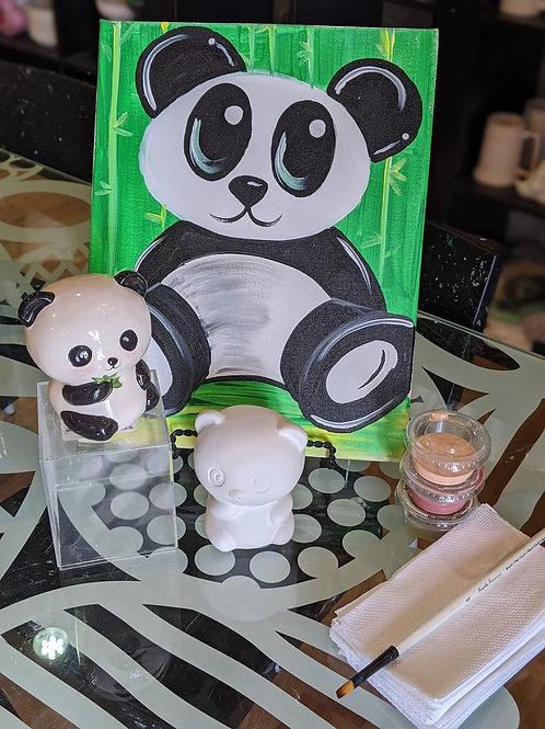 Pre-sketched Panda Canvas & Ceramic
