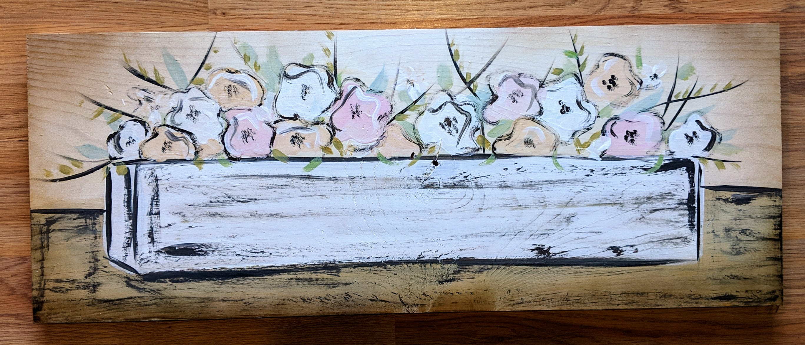 Farmhouse Boxed Flowers on Wood
