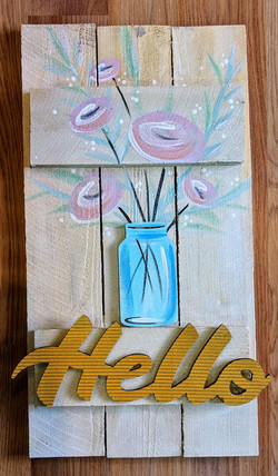 Hello Pallet with Pink Flowers in Jar
