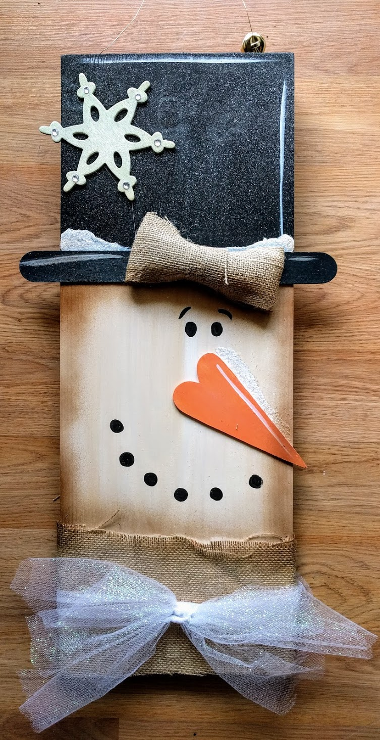 Snowman Head on Wood
