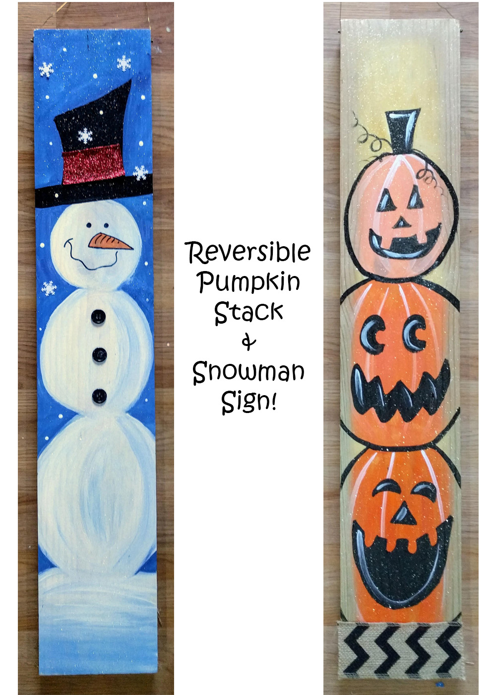 Pumpkin Snowman Reversible Sign