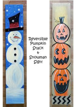 Pumpkin Snowman Reversible Sign