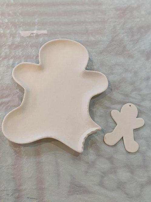 Gingerbread Man Ornament & Plate