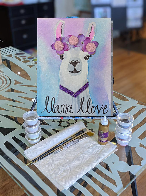 Canvas To-Go Kit: Llama Love