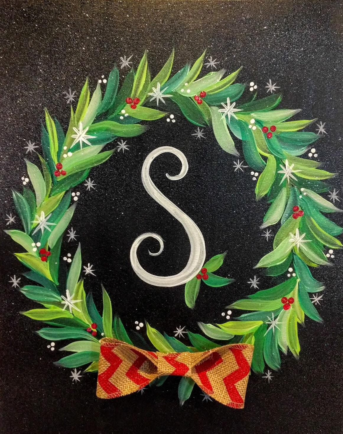 Initial Christmas Wreath