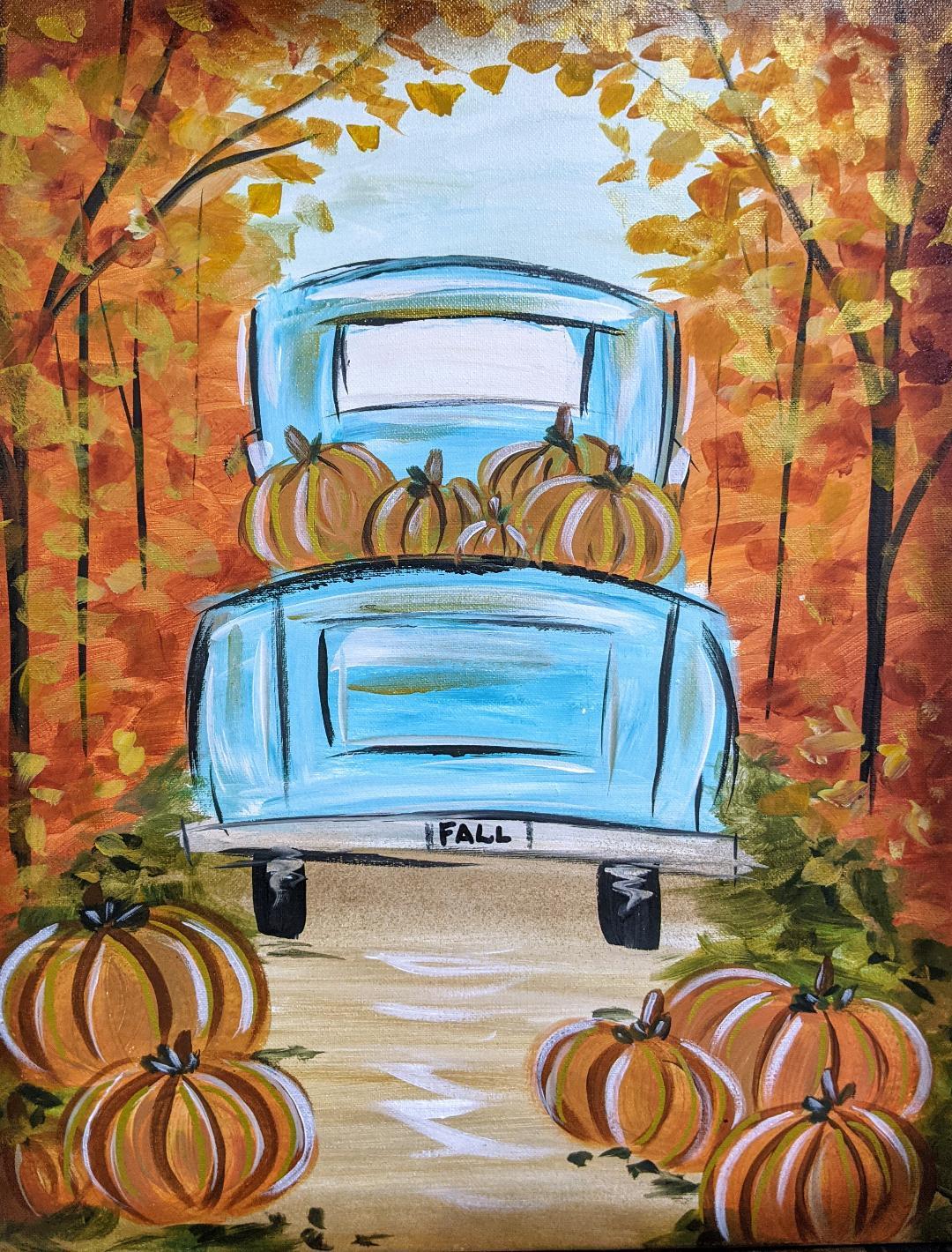 Fall Teal Truck