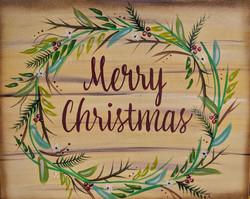 Merry Christmas Wreath Canvas