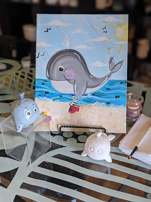 Pre-sketched Whale Canvas & Whale Ceramic