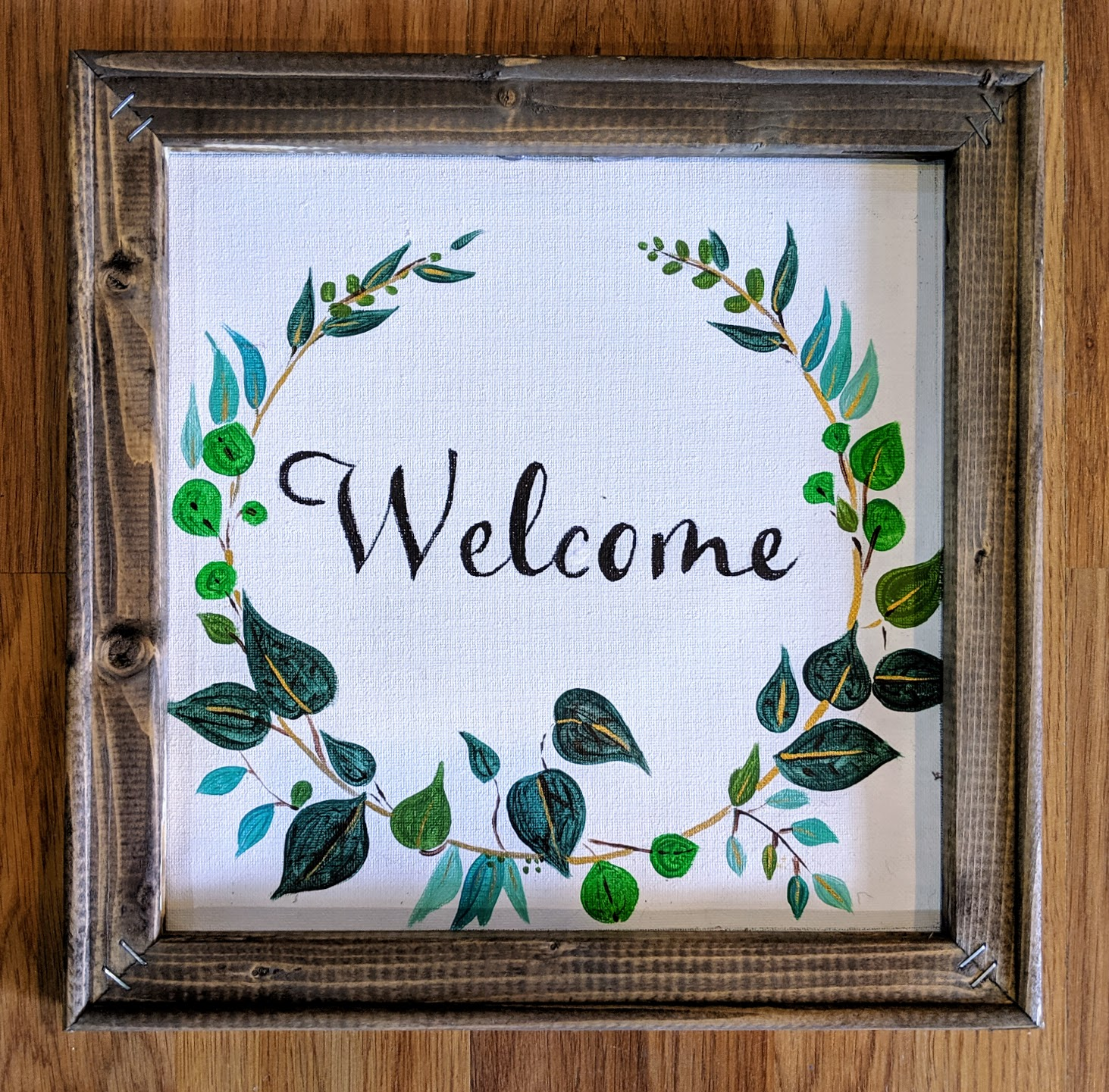 Reverse Canvas Welcome Green Wreath