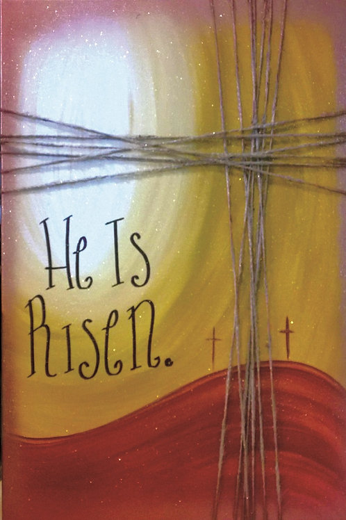 He is Risen Canvas with Twine