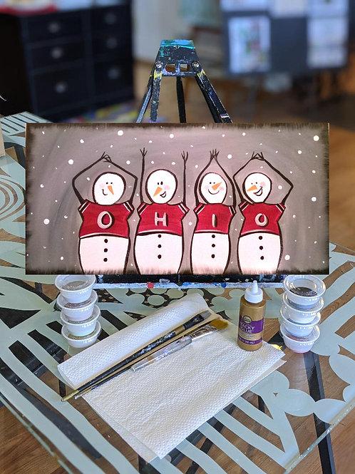 Canvas To-Go Kit: O-H-I-O Snowmen