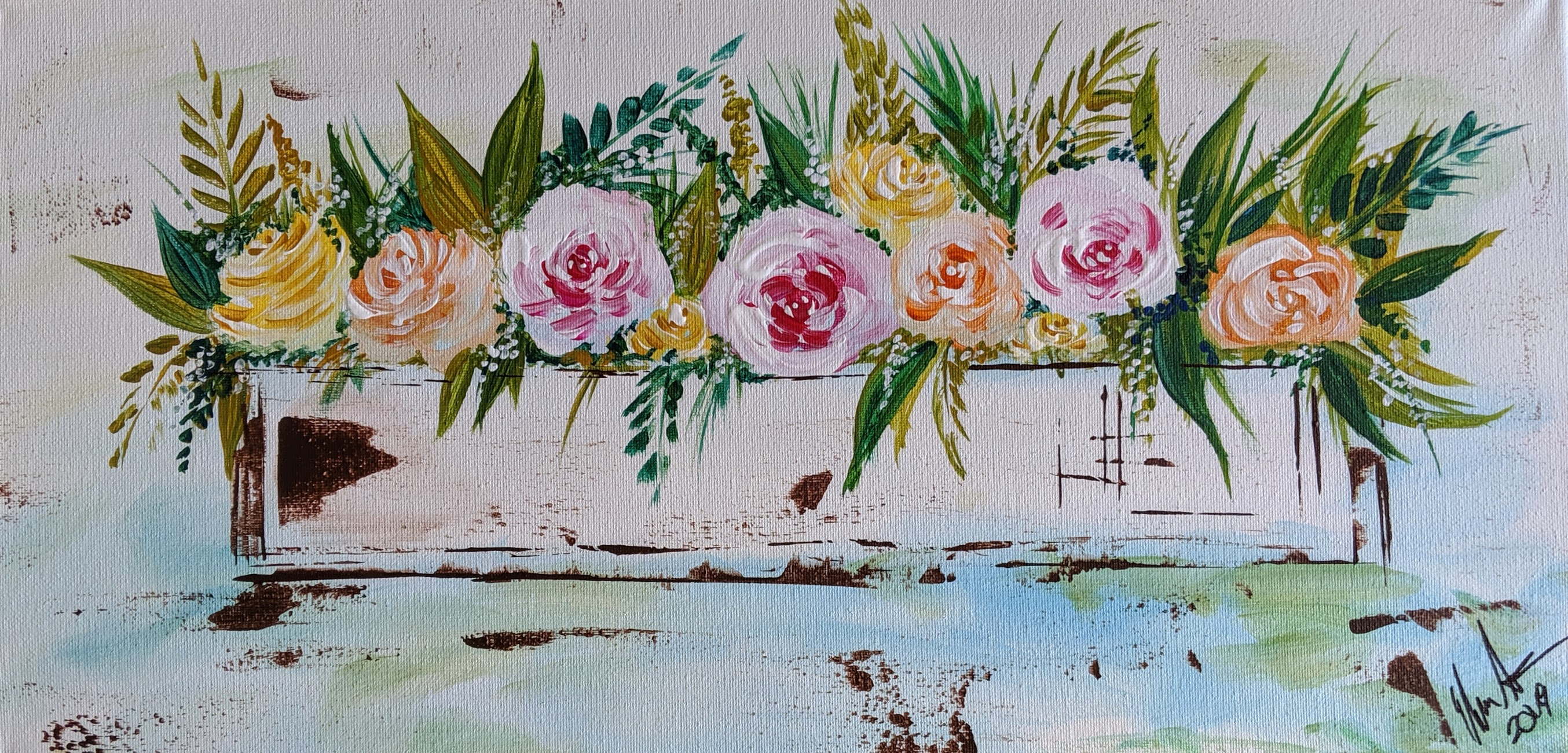 Farmhouse Flower Box on Canvas