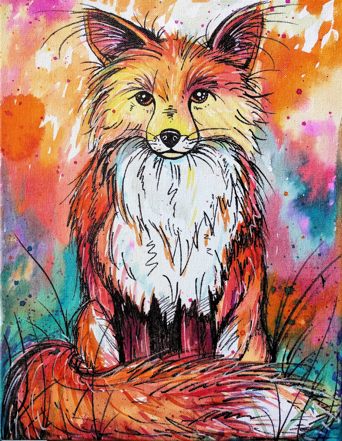 Watercolor Bright Fox