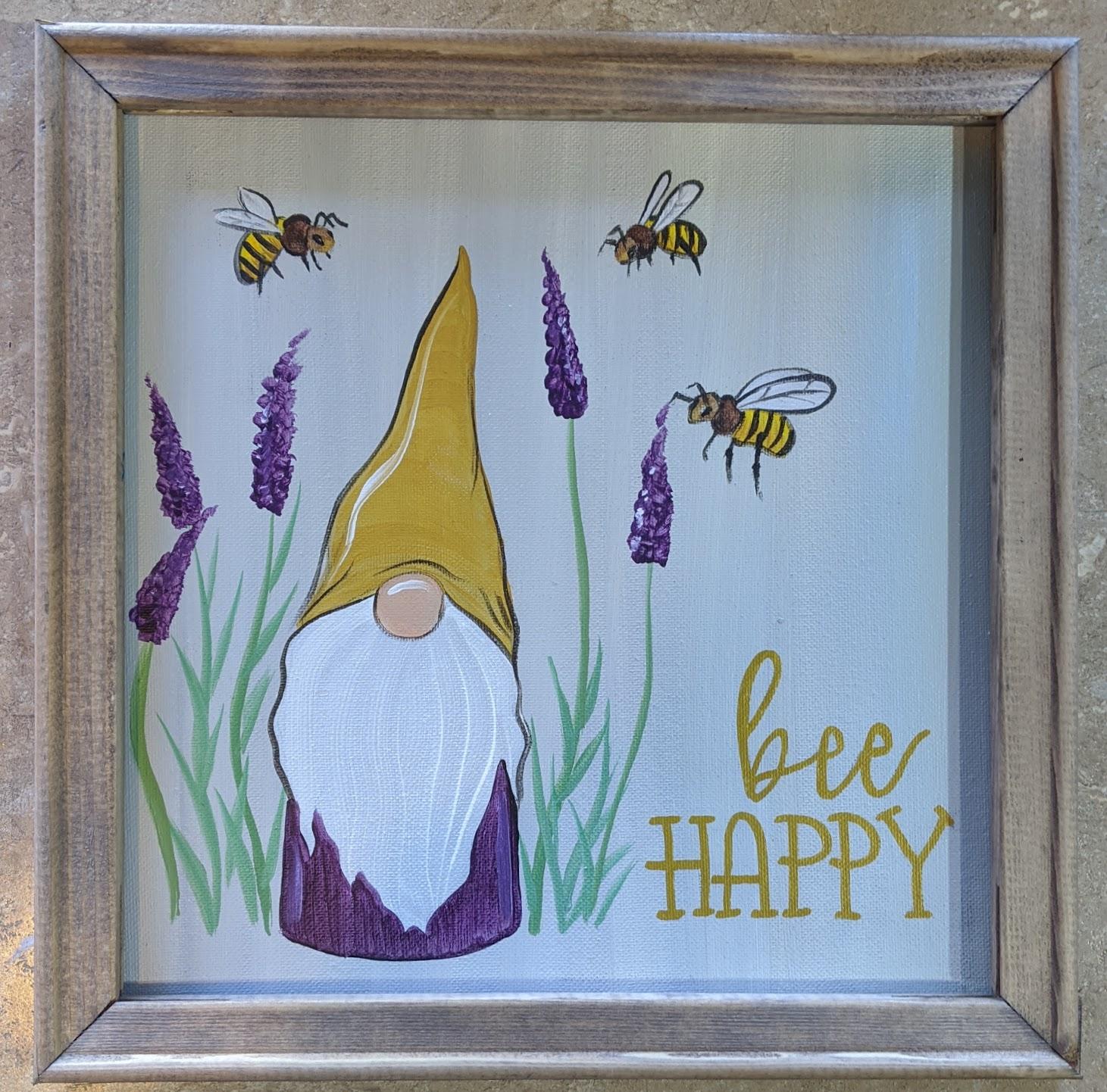 Bee Happy Gnome Reverse Canvas