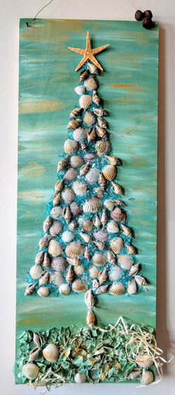 Shell Tree on Wood