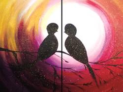 Couple's Birds At Sunset