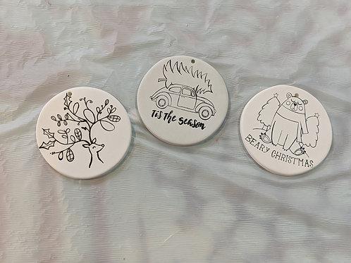Set of 3 Printed Ornaments