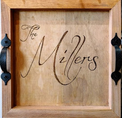 Wood Burned Last Name Serving Tray