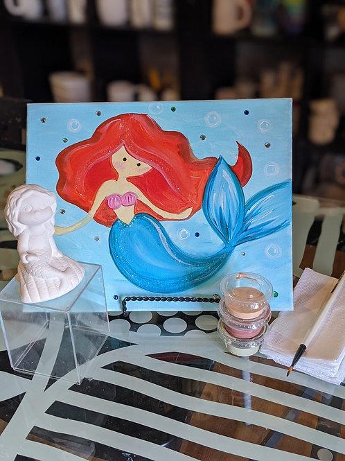 Pre-sketched Mermaid Canvas & Ceramic