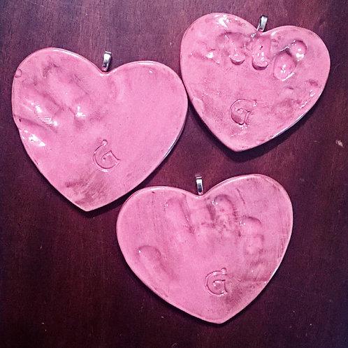 Clay Handprint Heart Vday Ornament Kit