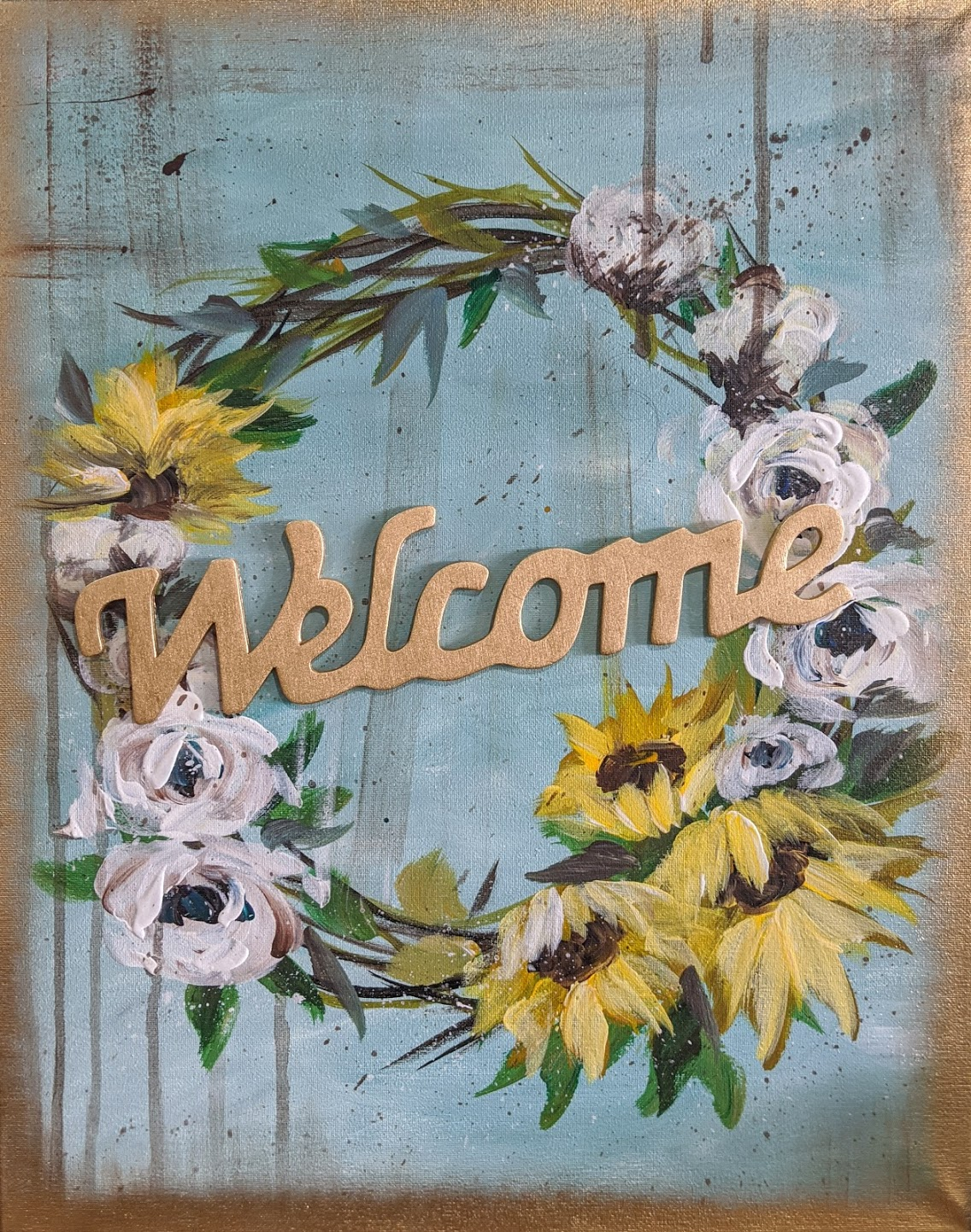 Spring Welcome Wreath Canvas
