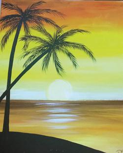 Palm Tree Sunset in Orange