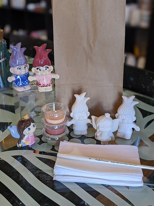 Set of 2 Trolls & 1 Mini Fairy Ceramic Combo