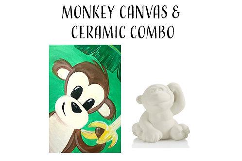 Pre-sketched Monkey Canvas & Ceramic