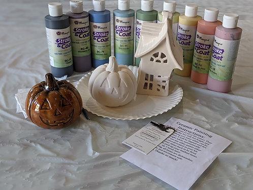 Ceramic Jack-o-Lantern Pumpkin & Haunted House Combo