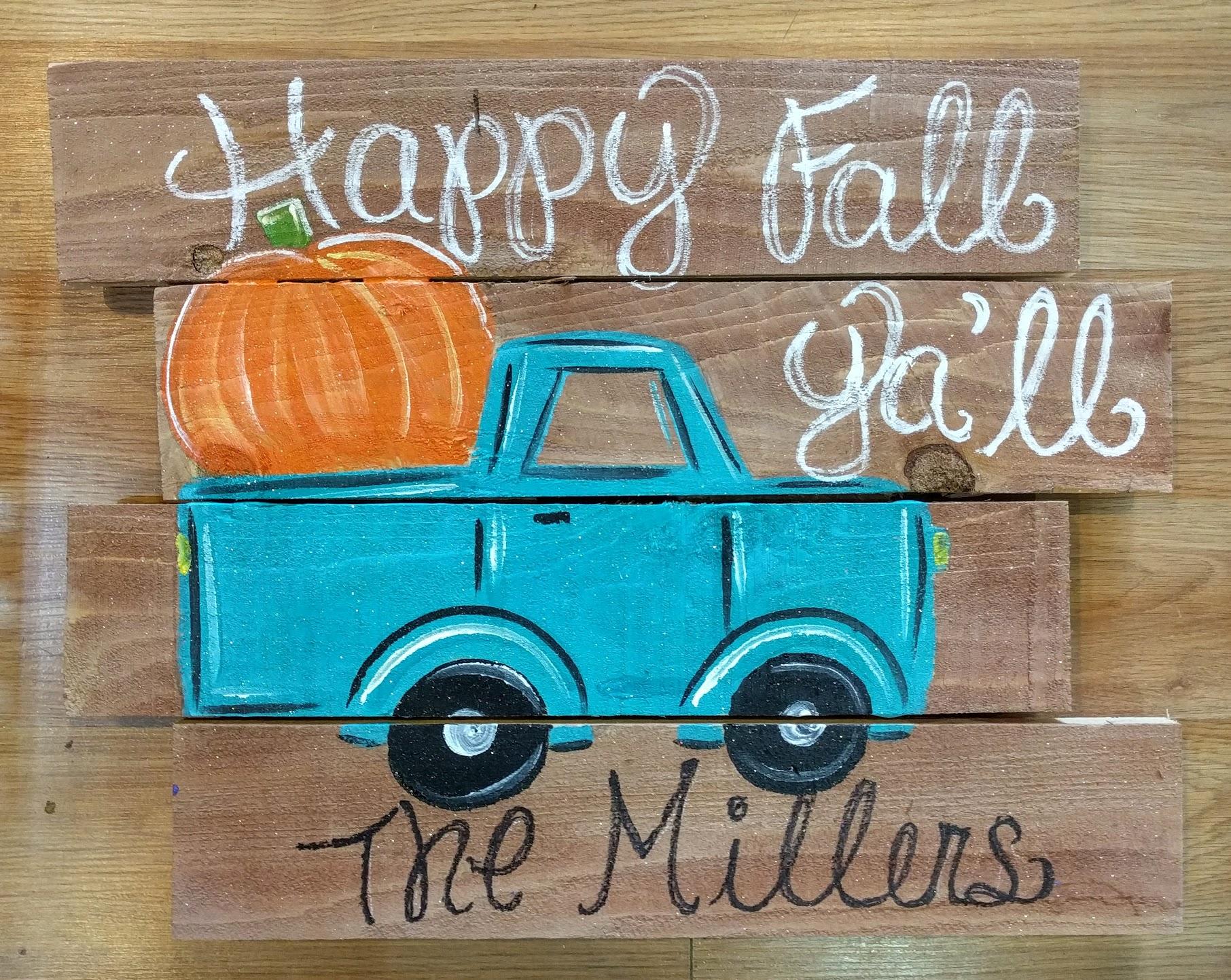 Fall Teal Truck Pallet