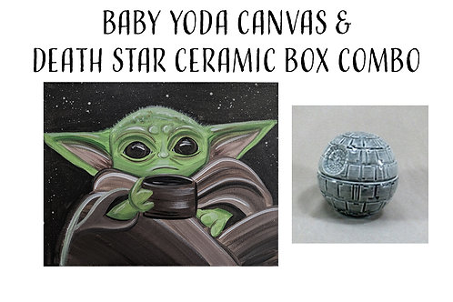 Pre-sketched Baby Yoda & Death Star Ceramic