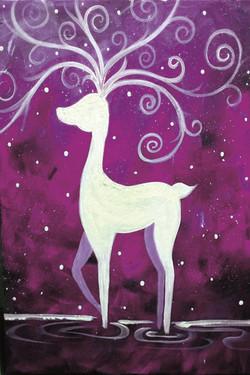 White Stag in Purple