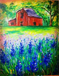 Lilacs and Barn