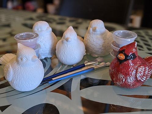 Set of 4 Ceramic Birds