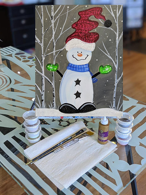 Canvas To-Go Kit: Snowman in Forest