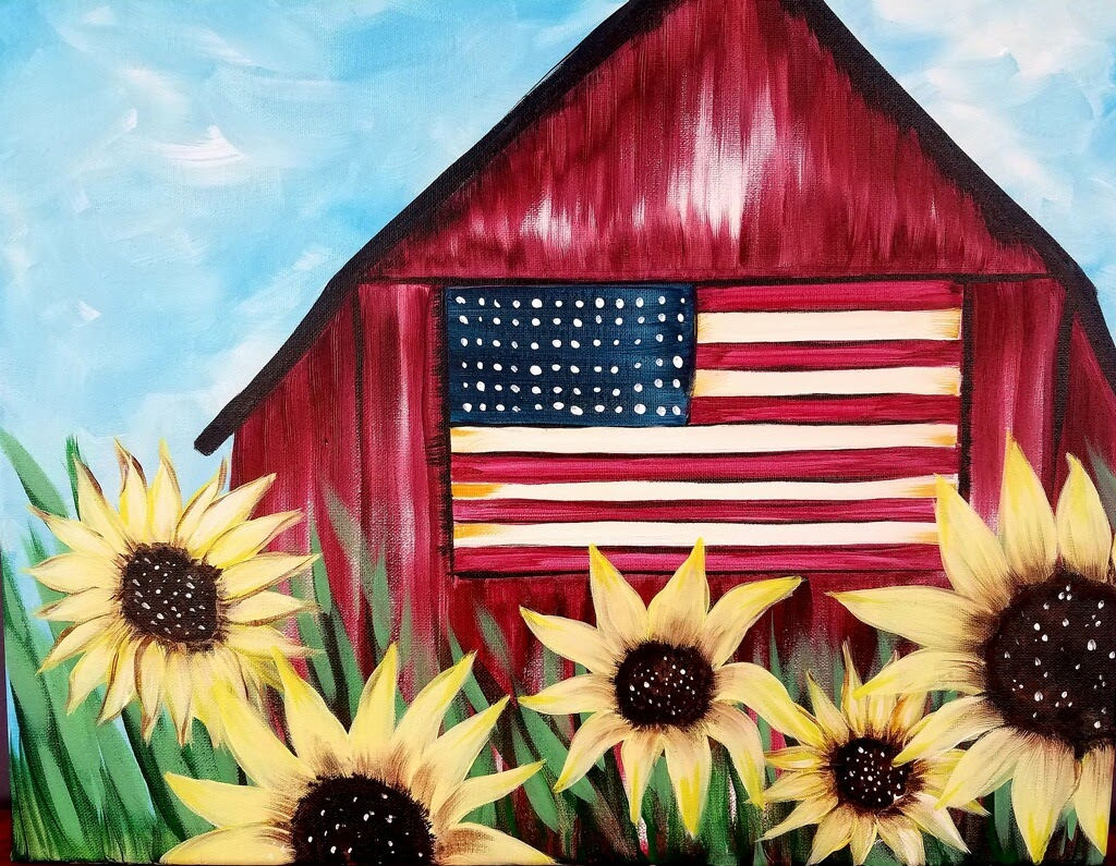 American Barn & Sunflowers