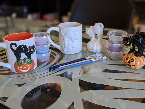 Cat on Pumpkin Mug & Figurine