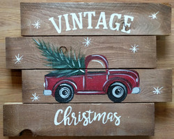 Vintage Christmas Truck Pallet
