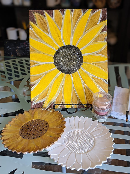Pre-sketched Sunflower Canvas & Ceramic Plate