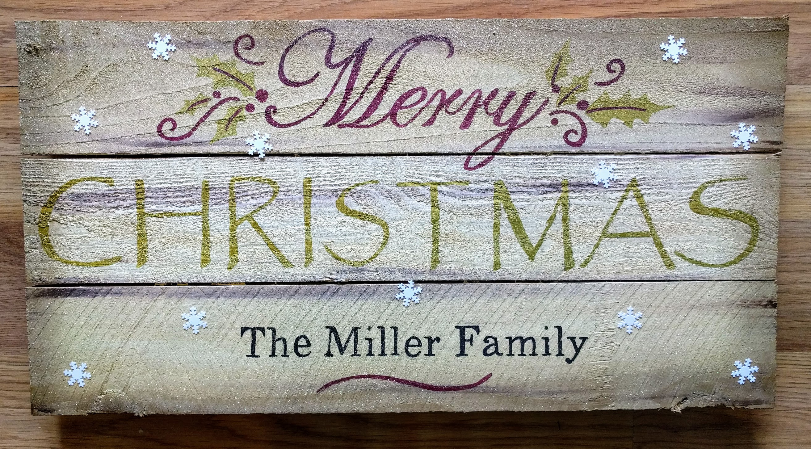 Merry Christmas Family Name Pallet