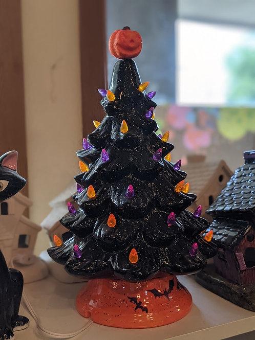 Black & Orange Halloween  Light-Up Tree